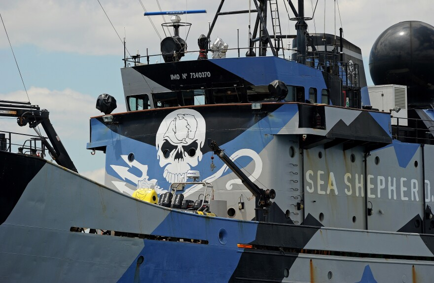 The ship Steve Irwin, from the fleet of environmental activist group Sea Shepherd, sits at anchor near Perth, Australia, in 2011.