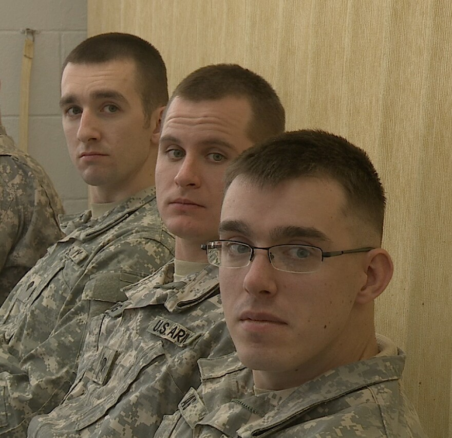 Spcs. Tyler Foster, Shane Delong and Jakob Mays are soldiers in the Army Reserve 363rd Military Police Company in Grafton, West Virginia.  This April they will deploy to Afghanistan.
