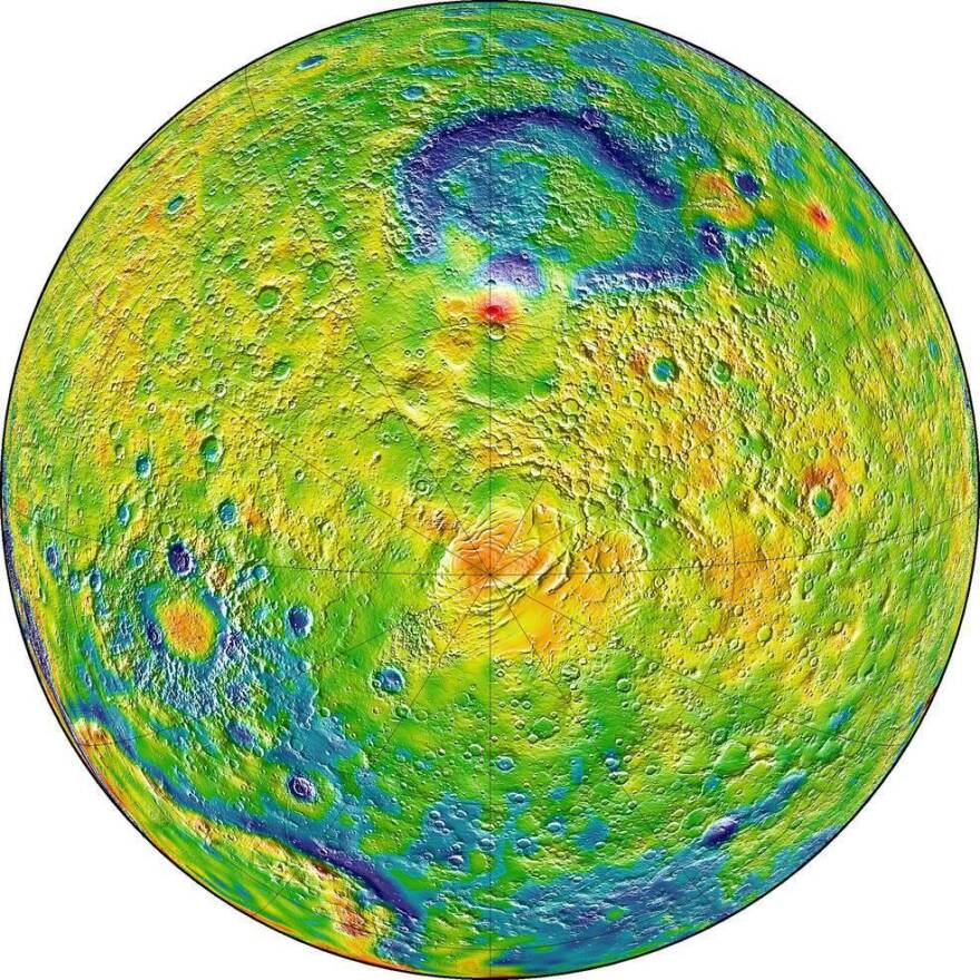A map of Martian gravity looking down at the South Pole (center).
