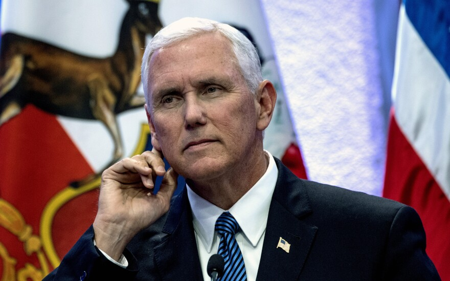 Vice President Pence holds a press conference at La Moneda presidential palace in Santiago on Wednesday.