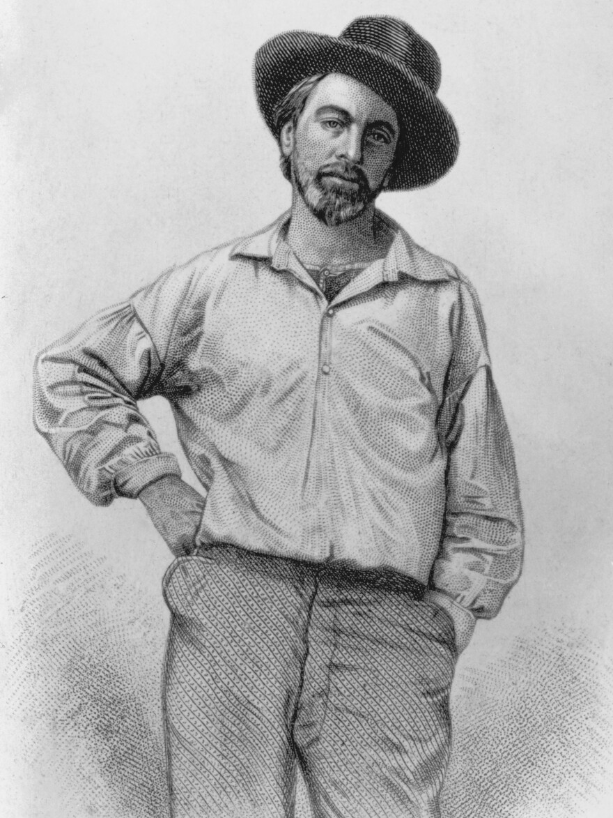 """""""Manly health!"""" Whitman wrote in the <em>New York Atlas</em>. """"Is there not a kind of charm --€"""" a fascinating magic in the words?"""" The poet is seen here in an engraving that appeared in several editions of <em>Leaves of Grass</em>."""