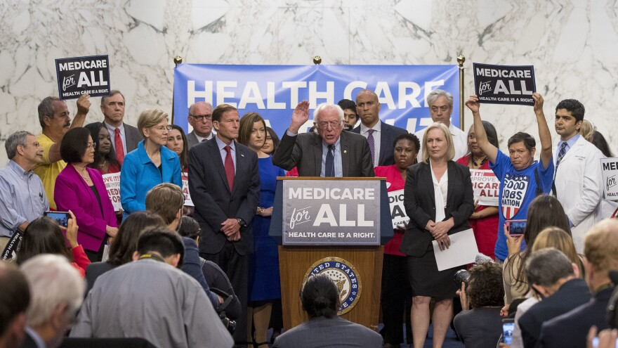 "Sanders newly unveils his signature ""Medicare for all"" legislation on Sept. 13, 2017. Joining him are three future fellow presidential candidates, Sens. Elizabeth Warren, Cory Booker and Kirsten Gillibrand."