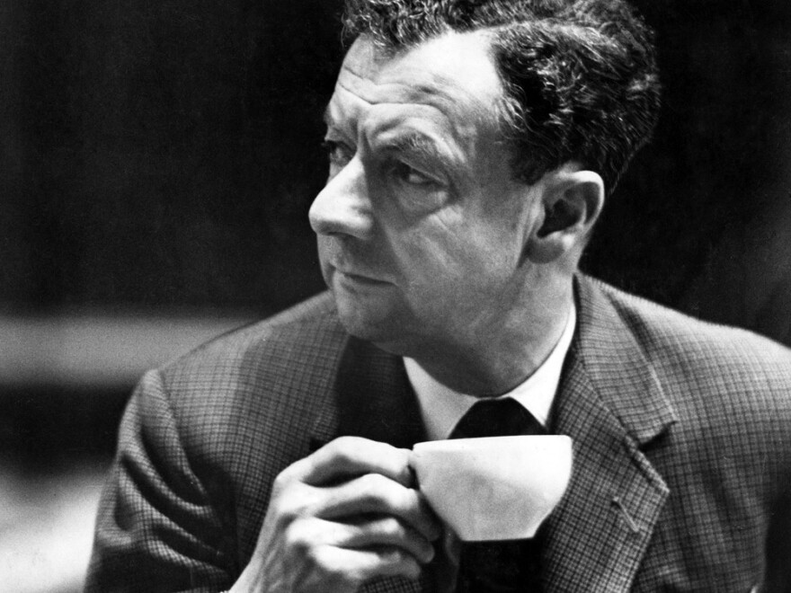 Benjamin Britten takes a cup of tea during rehearsals for his <em>War Requiem</em> at Coventry Cathedral, in Coventry, England in May, 1962.