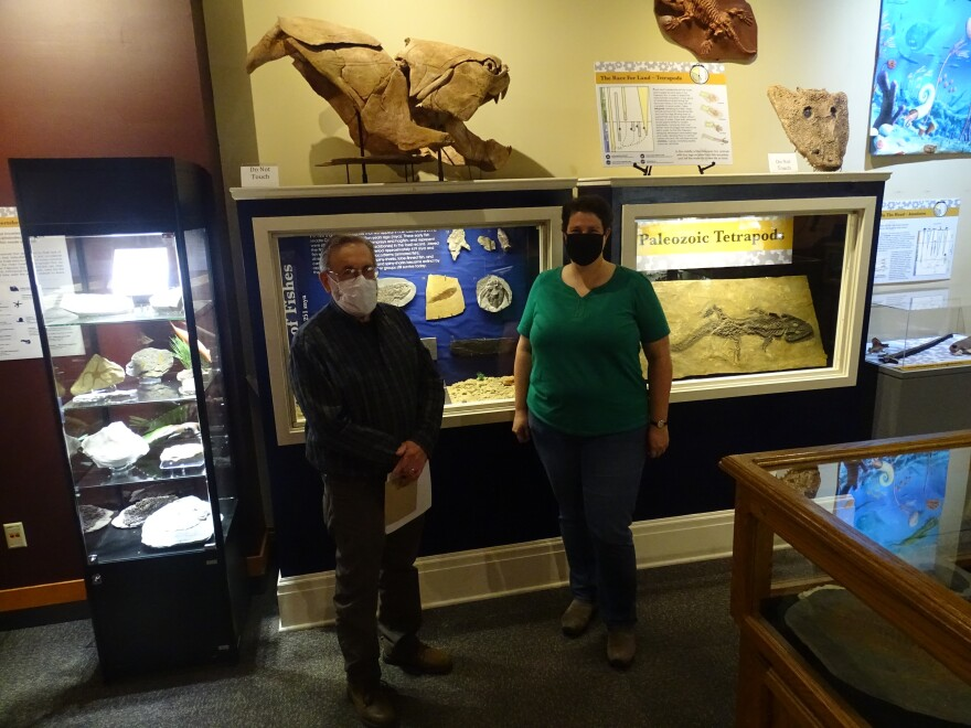 Don Mikulic and Beth Johnson inside a museum in Menasha.