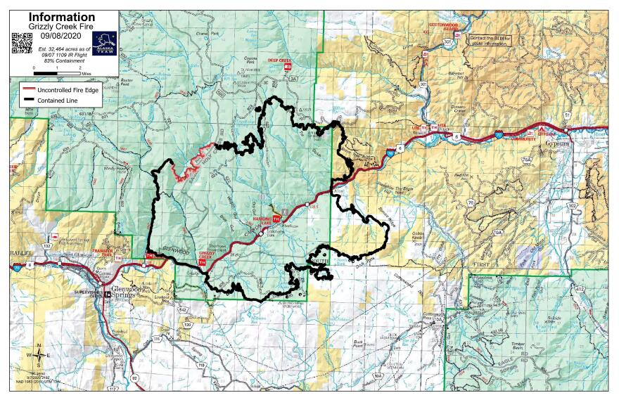 Grizzly Creek Fire map for Sept. 8, 2020