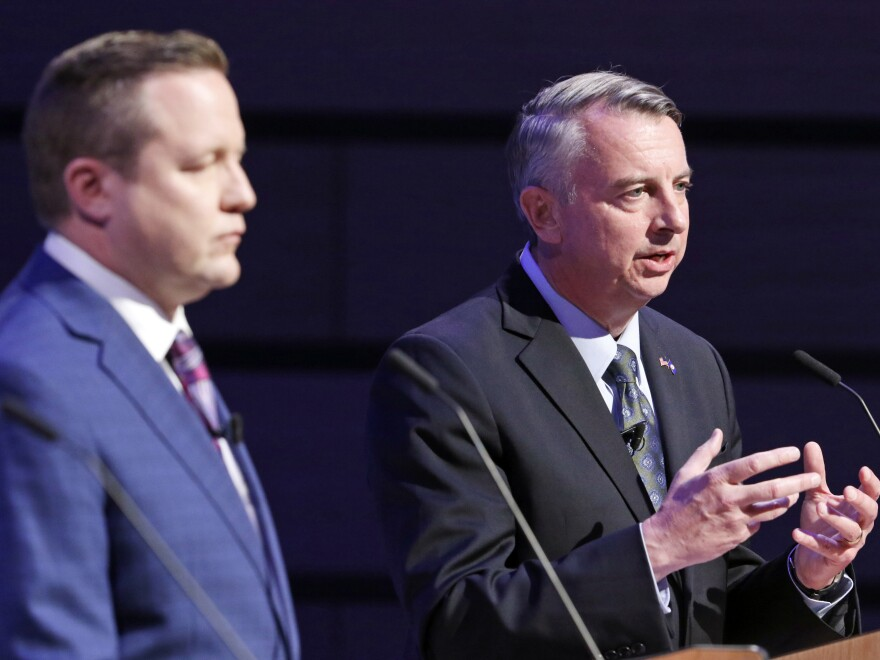 Republican gubernatorial candidates Ed Gillespie (right) and Corey Stewart (left) during a debate at Liberty University in Lynchburg, Va., in April.