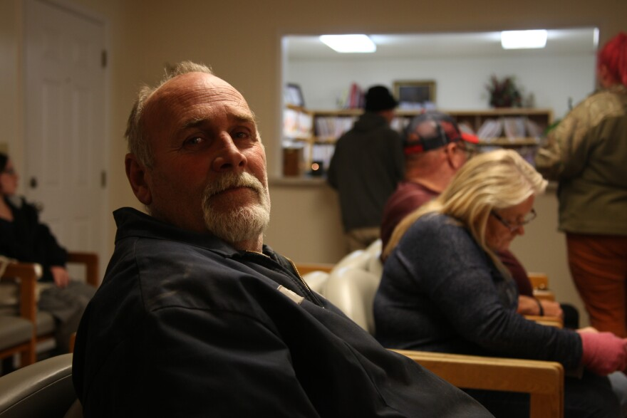 Terry Cox waits to be seen at the Good Samaritan Care clinic in Mountain View, Missouri.