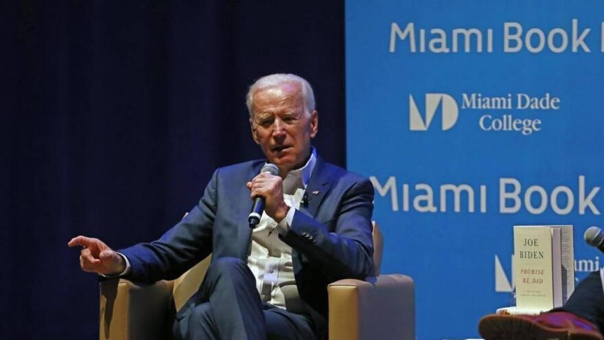 The climate change plan of presumptive Democratic Presidential nominee Joe Biden, seen here at the Miami Book Fair in 2017, was up for discussion Monday during a virtual conference call.
