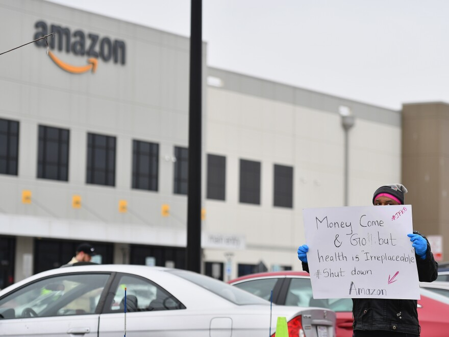 Amazon workers at a Staten Island warehouse stage a protest on March 30.