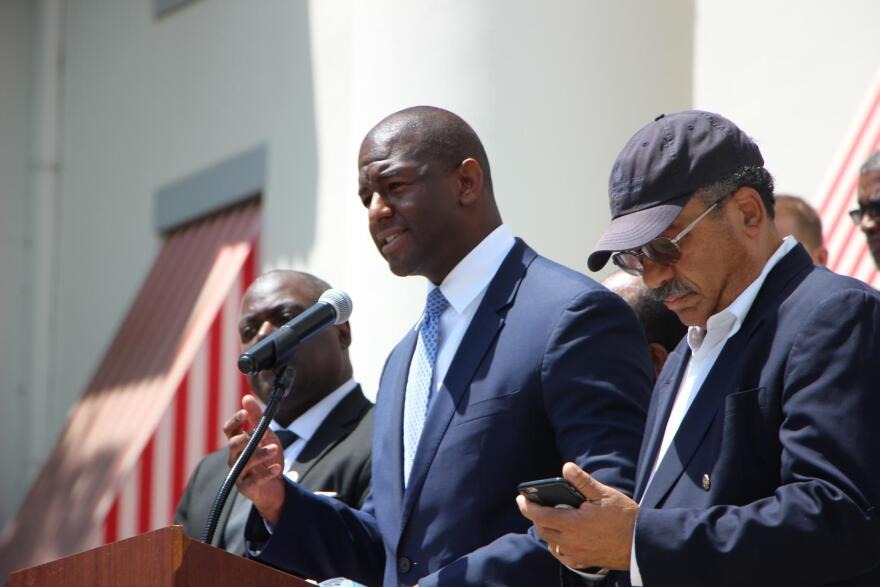 Democratic gubernatorial candidate and Tallahassee Mayor Andrew Gillum speaks during a voting rights rally at the Capitol on April 26, 2018