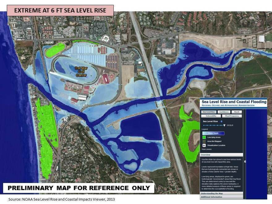Del Mar's affluent Beach Colony neighborhood, under the green on left, would be nearly inundated under extreme projections of sea level rise, according to the city's planning documents.