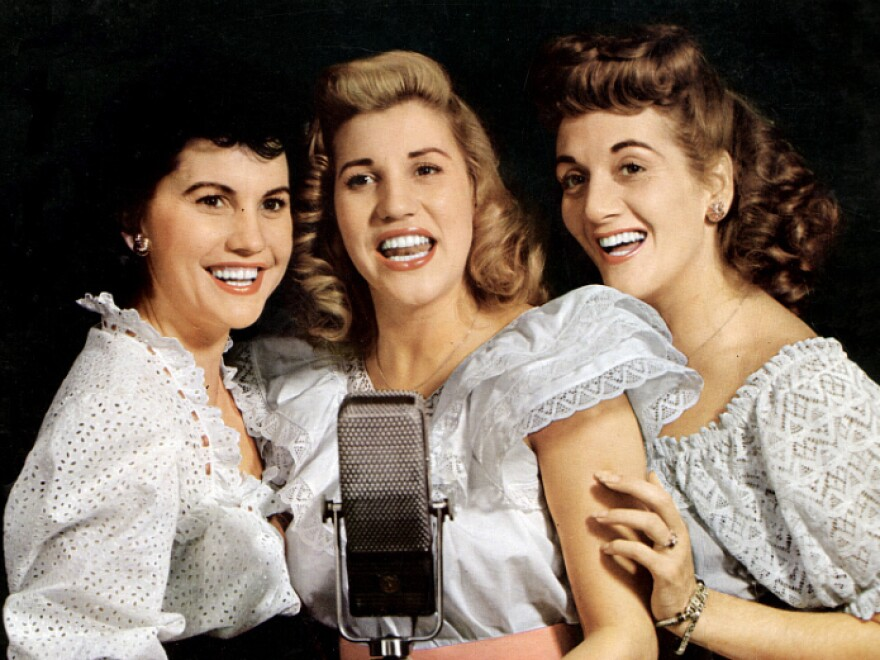 The Andrews Sisters (from left, Maxene, Patty and LaVerne) in the 1940s. Patty was the star of the sibling act.