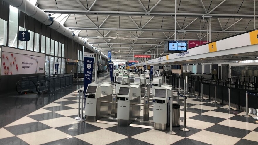 United's nearly empty terminal at O'Hare International Airport in Chicago in April.