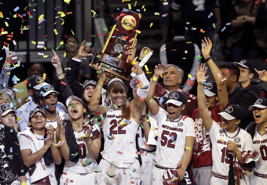 South Carolina forward A'ja Wilson (22) and her teammates celebrate their win over Mississippi State in the final of the NCAA women's college basketball tournament on Sunday.
