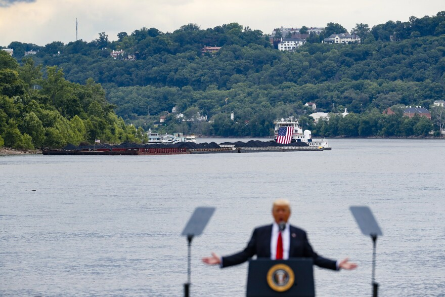 Donald Trump gives a speech along the Ohio River in June 2017.