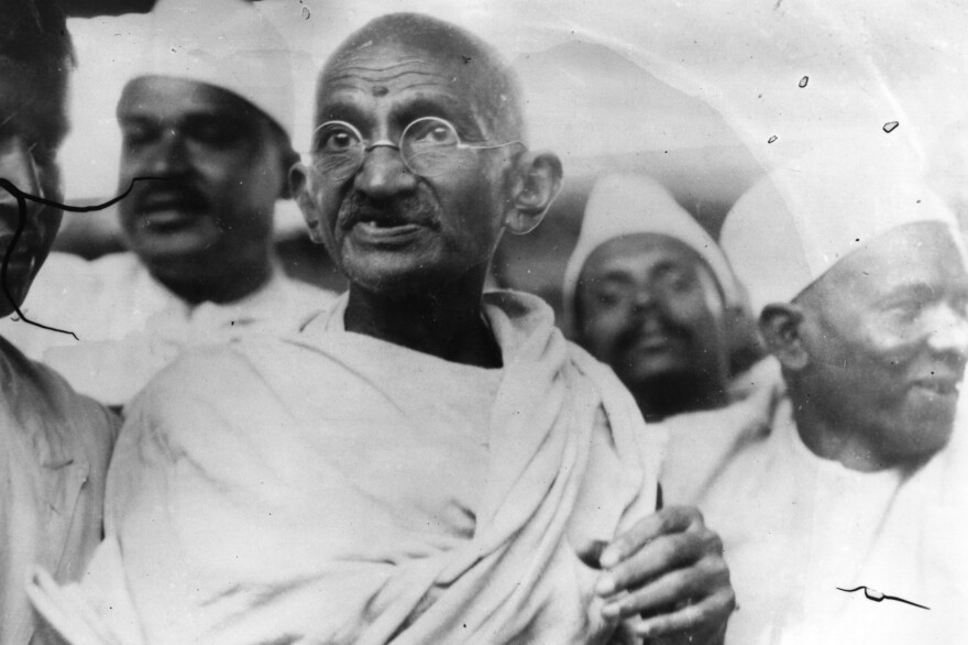 Mahatma Gandhi (Mohandas Karamchand Gandhi, 1869-1948), Indian nationalist and spiritual leader, leading the Salt March in protest against the government monopoly on salt production.