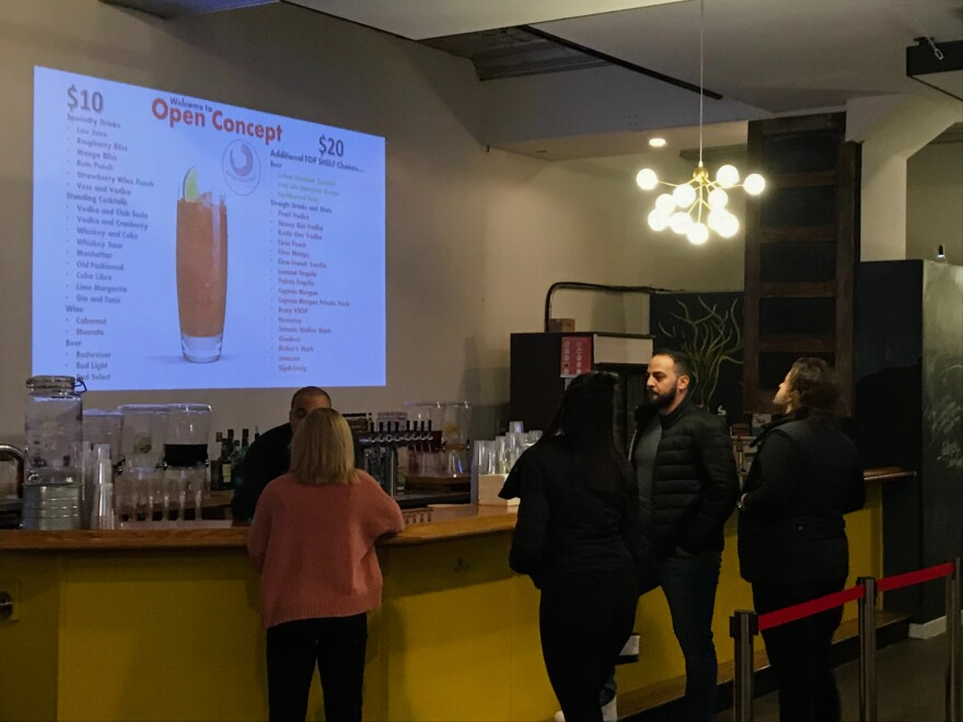 Open Concept provides an open bar to its patrons at a $10 per hour rate or $20 per hour for premium drinks.