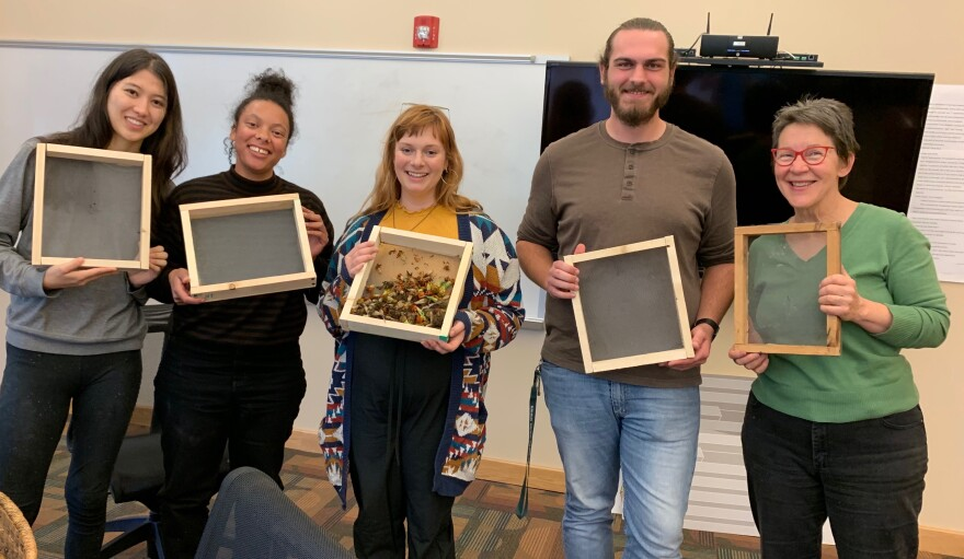 Beth Bridgeman and her students make winnowing screens to save seeds.