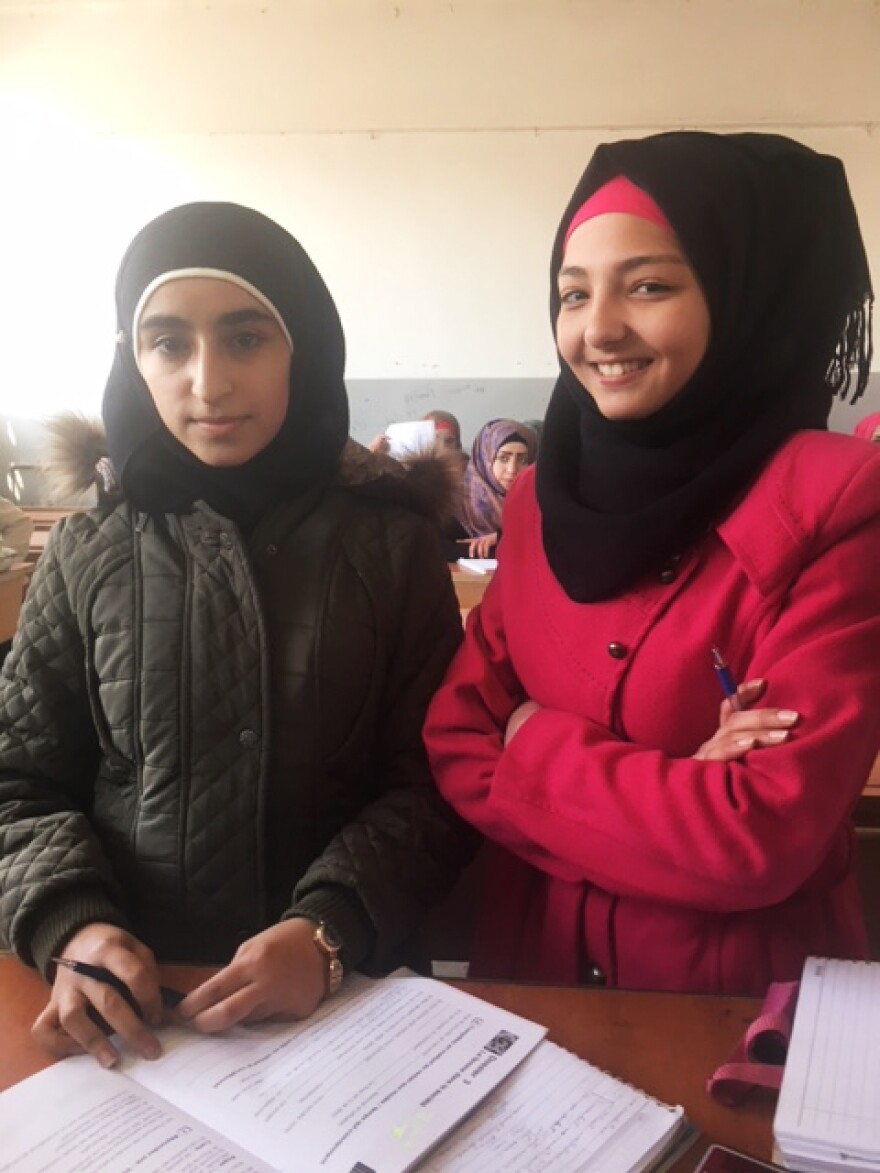 These girls are happy to be back in school in Manbij, Syria. When ISIS ruled the city, they were unable to attend school.