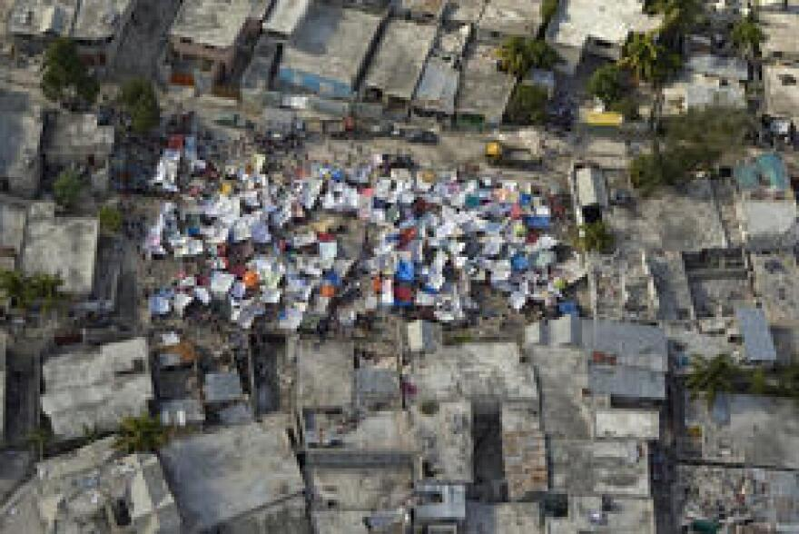 A tent city popping up in the Haitian capital of Port-au-Prince following the earthquake in 2010.