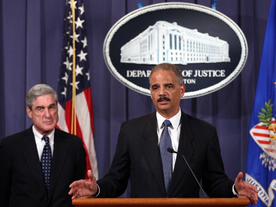 <p>U.S. Attorney General Eric Holder (right) and FBI Director Robert Mueller announce a plot had been foiled involving men allegedly linked to the Iranian government to kill the Saudi ambassador to the U.S. and bomb the embassies of Saudi Arabia and Israel in Washington at a news conference October 11, 2011 in Washington, DC. </p>