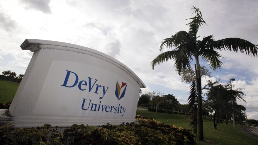 The entrance to the DeVry University in Miramar, Fla.