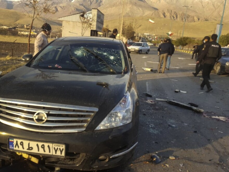 "This photo released by the semiofficial Fars News Agency shows the scene where Mohsen Fakhrizadeh was reportedly killed in Absard, a small city just east of Tehran, Iran, on Friday. Fakhrizadeh, an Iranian scientist that Israel alleged led the Islamic Republic's military nuclear program until its disbanding in the early 2000s, was ""assassinated"" Friday, state television said."