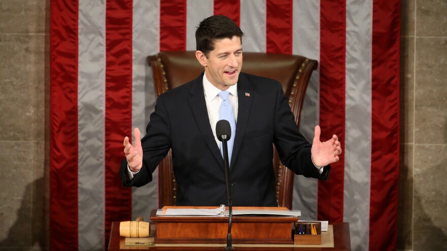 Newly elected House Speaker Paul Ryan speaks Thursday in the House Chamber.