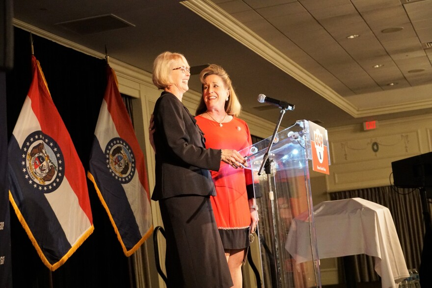 U.S. Congresswoman Ann Wagner shares the stage with Missouri Republican Party Chairwoman Kay Hoflander at Friday's Lincoln Day banquet.