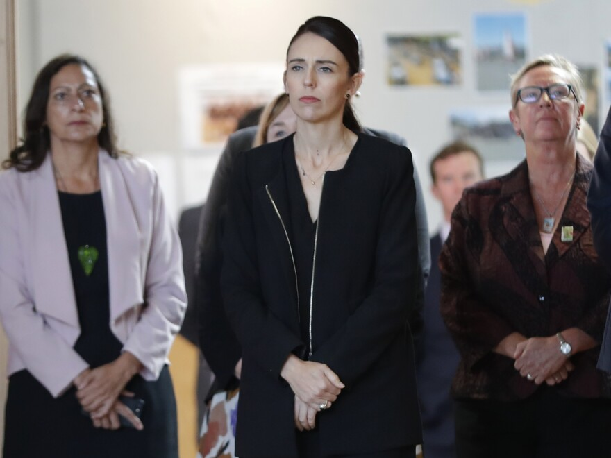 New Zealand's Prime Minister Jacinda Ardern visited Cashmere High School in Christchurch, which lost two current students to the shootings at two mosques last Friday that killed 50 people.