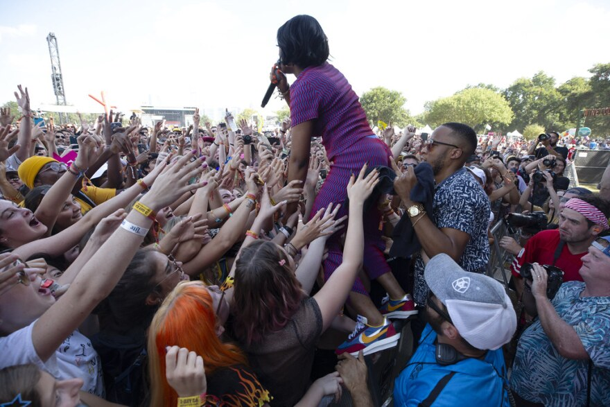 Tierra Whack ventures into the crowd on Saturday of weekend one of ACL Fest 2019.