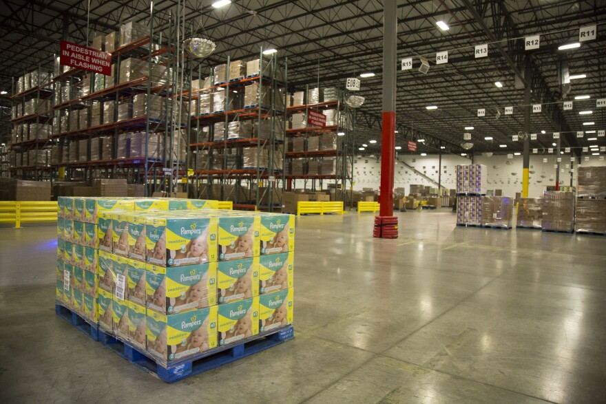 A pallet of Pampers at the Dayton Mixing Center.