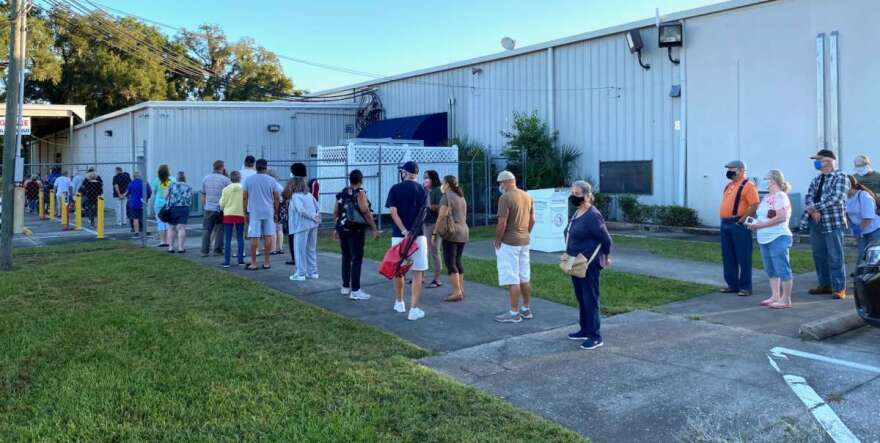 Voters line up outside a polling location in Marion County. Photo: Joe Byrnes, WMFE