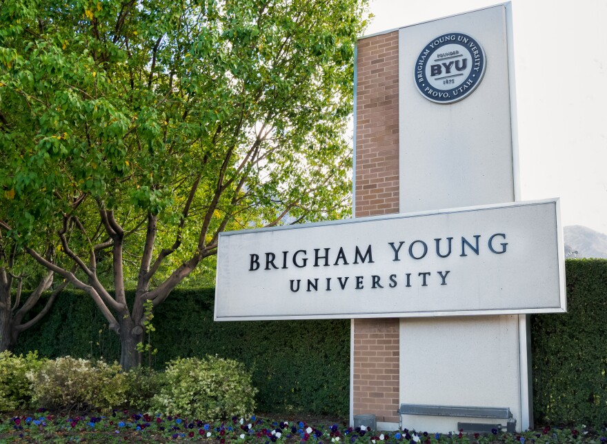 Photo of a sign that says Brigham Young University on the university's campus.