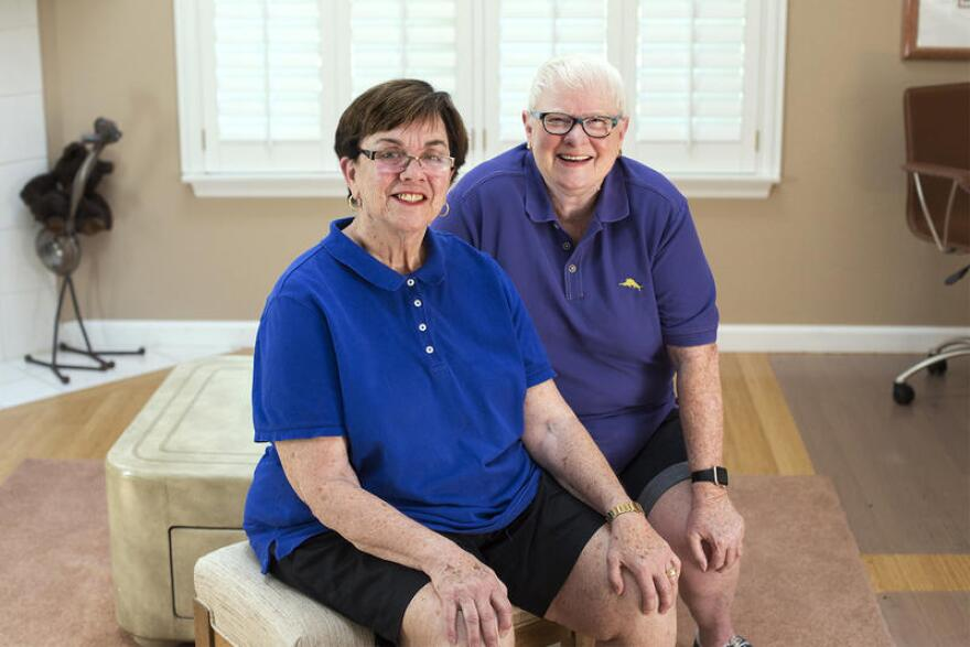 Beverly Nance and Mary Walsh pose for a portrait at their home in Shrewsbury on August 28, 2018.