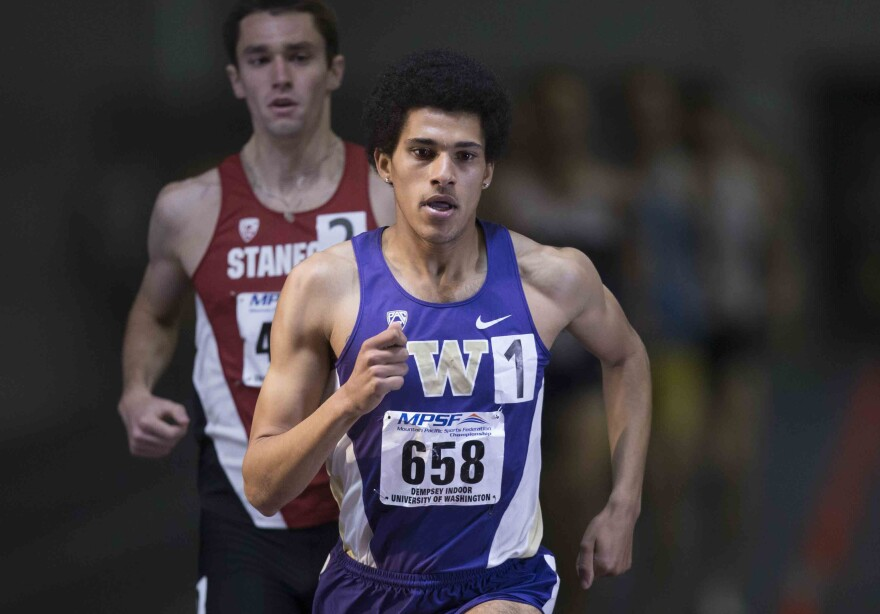 Izaic Yorks, a senior at the University of Washington, recently ran a mile in 3:53 — the fastest mile of any American collegiate athlete. Here, he competes on Feb. 27 in Seattle.