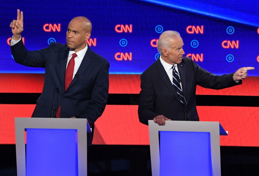 Sen. Cory Booker directly challenged former Vice President Joe Biden on criminal justice records during the debate.