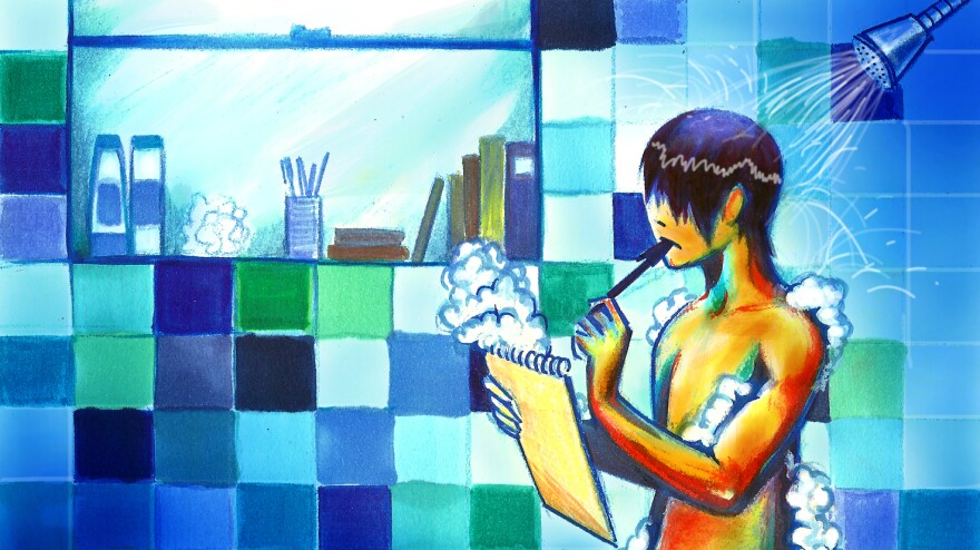 Taking a shower may help inspire big ideas. Working in a blue room may help, too.
