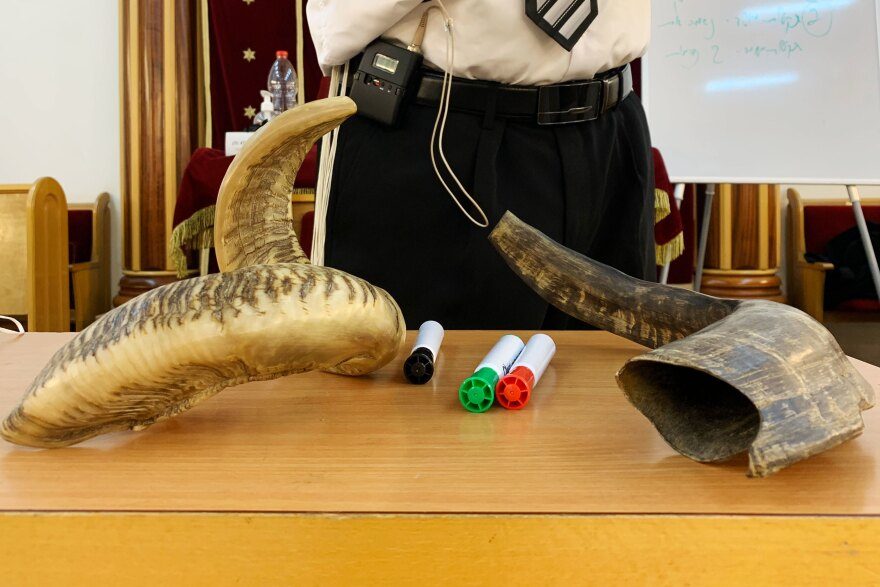 Shofars on a table during a Shofar blowing course in a synagogue in Ramat Gan.