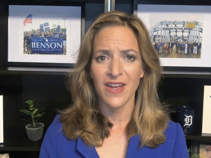Michigan Secretary of State Jocelyn Benson says her office plans to appeal the court blocking her ban of openly carrying firearms near polling places on Election Day. She's seen above speaking during the Democratic National Convention in August.