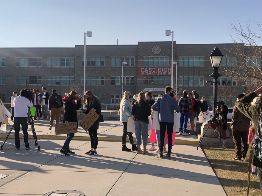 A photo of students at a protest outside East High School.