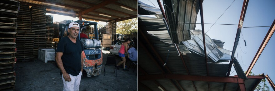 Ray Gonzalez says that although the aluminum roof of their produce warehouse was boarded up, they still sustained damage.