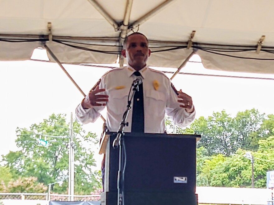 Police chief Johnny Jennings talked about increased crime enforcement, and made another plea for help with solving the June mass shooting on Beatties Ford Road.