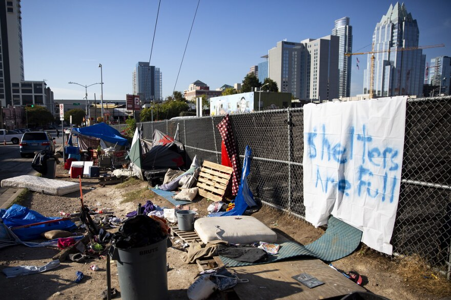 A homeless encampment near the ARCH shelter in downtown Austin.