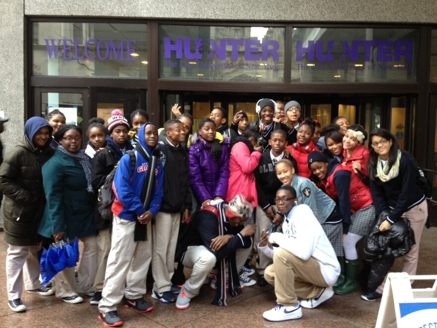 Students from a Harlem Children's Zone school visit Hunter College in New York. College visits are one way schools encourage students to attend college after graduation; now, a growing number of schools are working to help students <em>succeed</em> in college as well.
