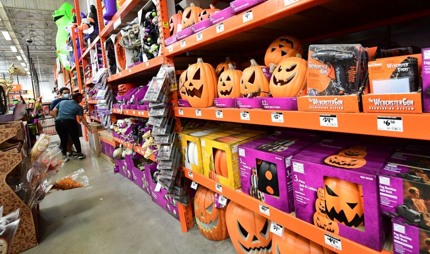 People shop for Halloween items at a home improvement retailer store in Alhambra, California on Sept. 9, 2020. (Frederic J. Brown/AFP via Getty Images)