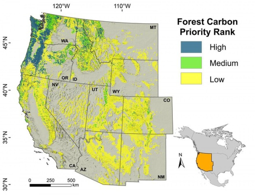 <p>This map illustrates the carbon sequestration potential of forests across the West, according to new research findings.</p>