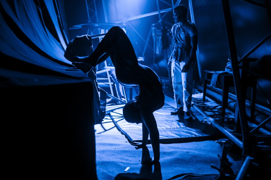 Contortionist Zusiphe Mgijima limbers up backstage during a Zip Zap circus performance in Cape Town, South Africa.