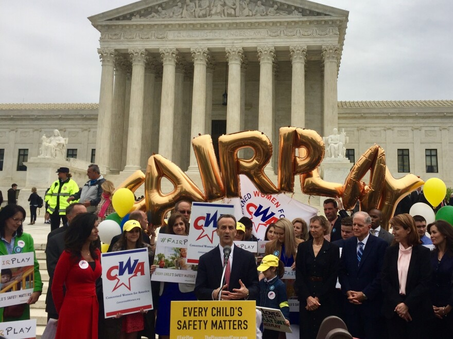 David Cortman of the Alliance Defending Freedom speaks after representing Trinity Lutheran Church before the Supreme Court on Wednesday. Concerned Women for America hosted a rally in support of the Missouri church on the court steps.