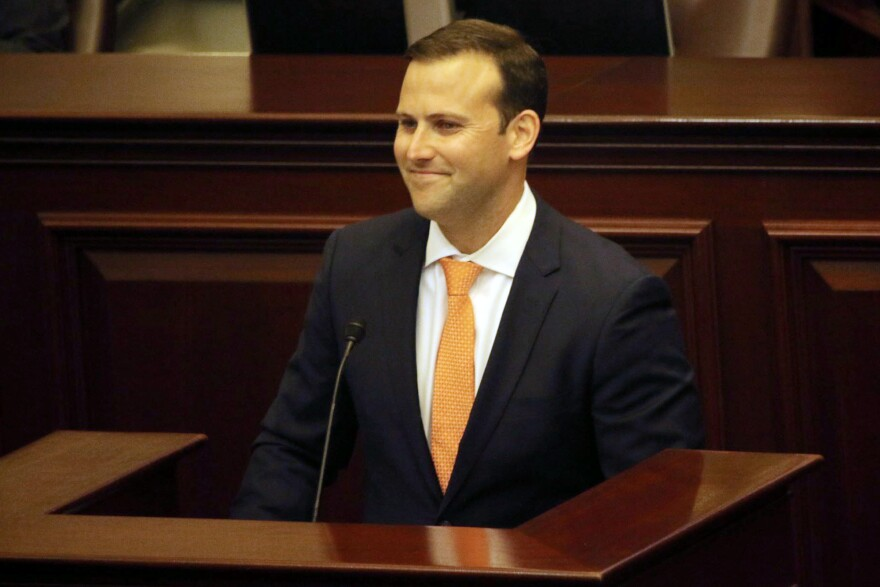 State Rep. Chris Sprowls, 35, addresses the Florida House of Representatives, Tuesday, Sept. 17, 2019, in Tallahassee, Fla., after the Republican was elected to lead the 120-member chamber.